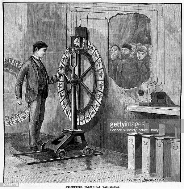 Tachyscope is an early form of animated picture machine in which chronophotographs were mounted on the periphery of a rotating wheel in order to show...