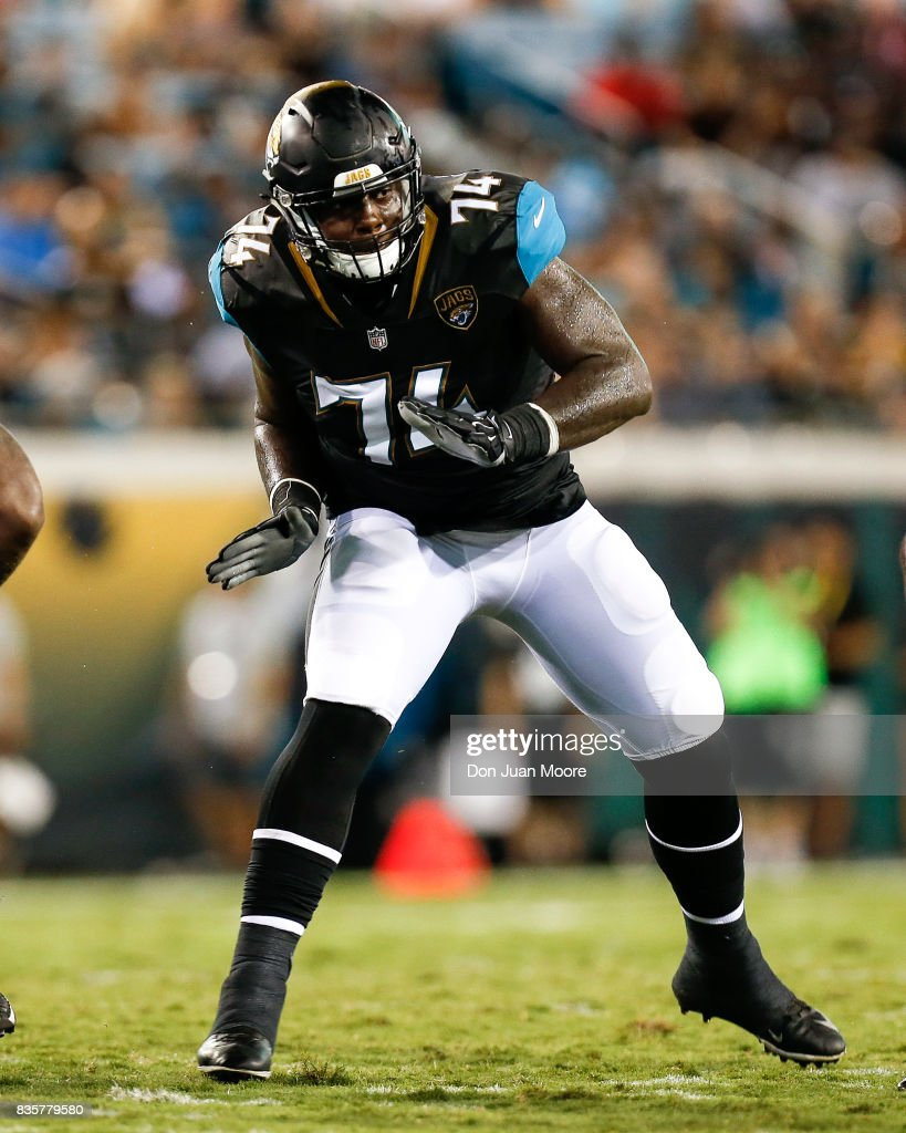 Tackle Cam Robinson #74 of the Jacksonville Jaguars during the game against the Tampa Bay Buccaneers at EverBank Field on August 17, 2017 in Jacksonville, Florida. The Buccaneers defeated the Jaguars 12 to 8.