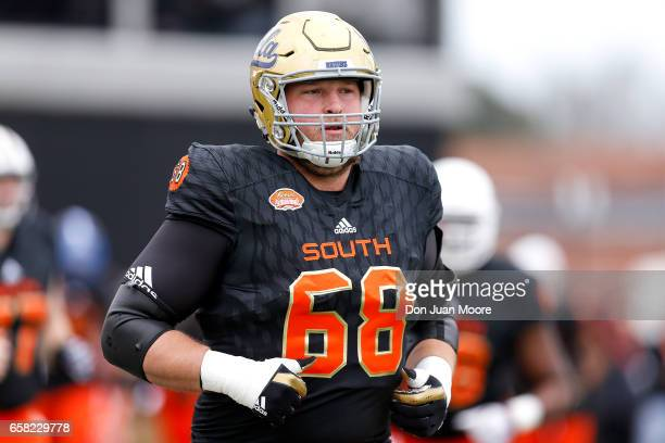 Tackle Conor McDermott from UCLA of the South Team during the 2017 Resse's Senior Bowl at LaddPeebles Stadium on January 28 2017 in Mobile Alabama...
