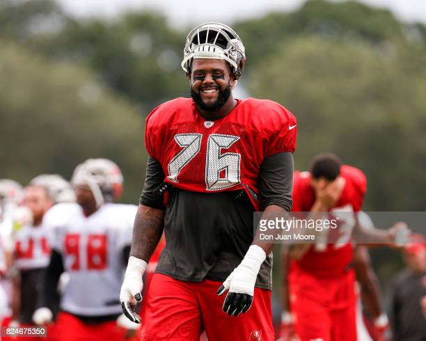 Tackle Donovan Smith of the Tampa Bay Buccaneers during Training Camp at One Buc Place on July 30 2017 in Tampa Florida