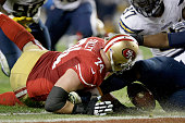 Tackle Joe Staley of the San Francisco 49ers is unable to recover a fumble that the San Diego Chargers scored a touchdown in the second half at...