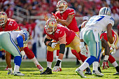 Tackle Joe Staley of the San Francisco 49ers waits for the snap against the Dallas Cowboys during a preseason game on August 23 2015 at Levi's...
