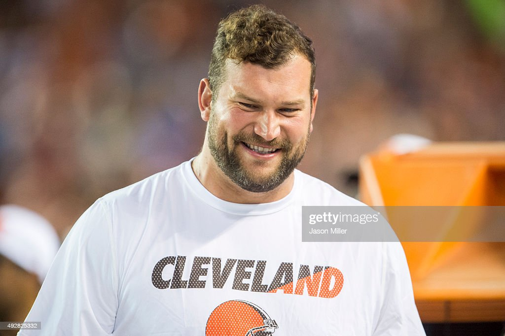 Tackle Joe Thomas of the Cleveland Browns on the sidelines during the second half against the Washington Redskins at FirstEnergy Stadium on August 13...