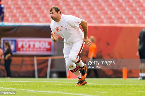 Tackle Joe Thomas of the Cleveland Browns warms up on the field prior to the game against the Baltimore Ravens at FirstEnergy Stadium on September 21...