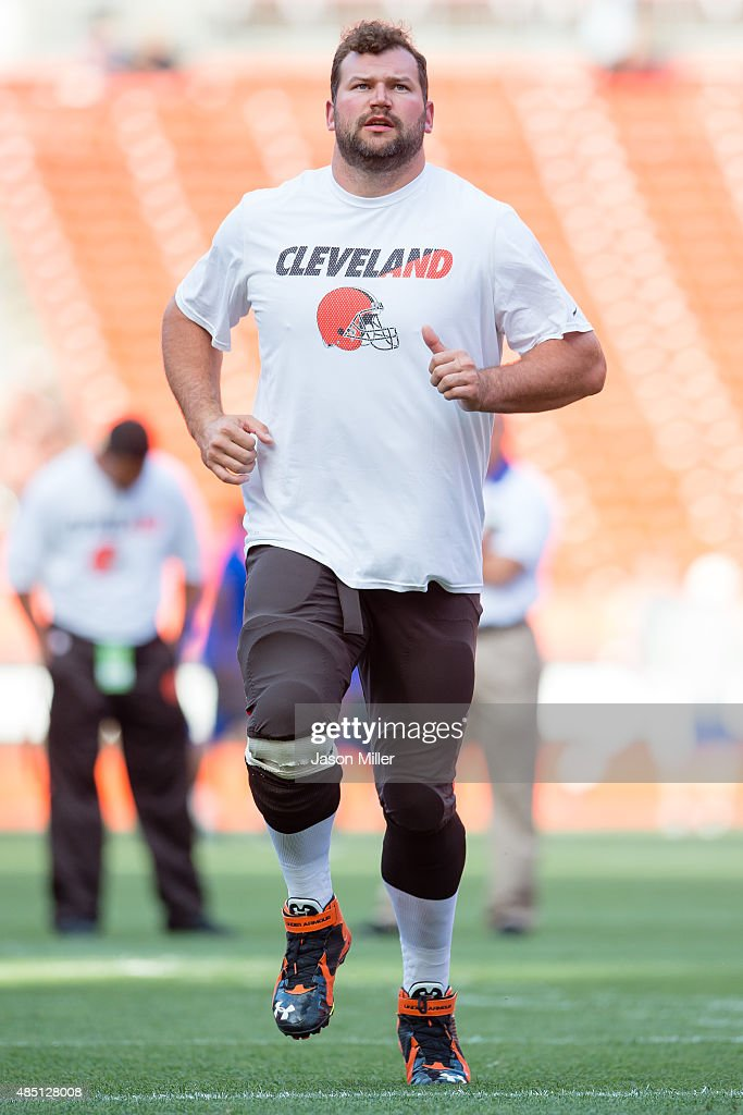 Tackle Joe Thomas of the Cleveland Browns warms up prior to a preseason game against the Buffalo Bills at FirstEnergy Stadium on August 20 2015 in...
