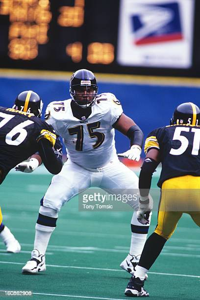 Tackle Jonathan Ogden of the Baltimore Ravens drops back into pass blocking during a game on October 18 1998 against the Pittsburgh Steelers at Three...