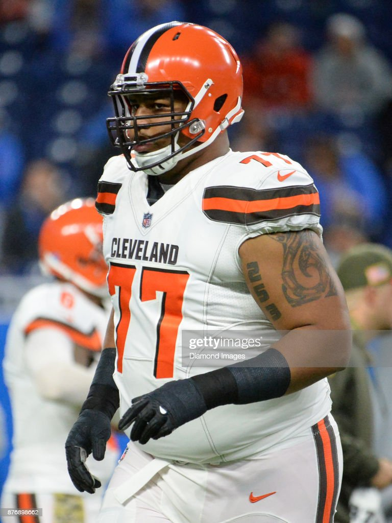 Tackle Zach Banner #77 of the Cleveland Browns runs onto the field prior to a game on November 12, 2017 against the Detroit Lions at Ford Field in Detroit, Michigan. Detroit won 38-24.