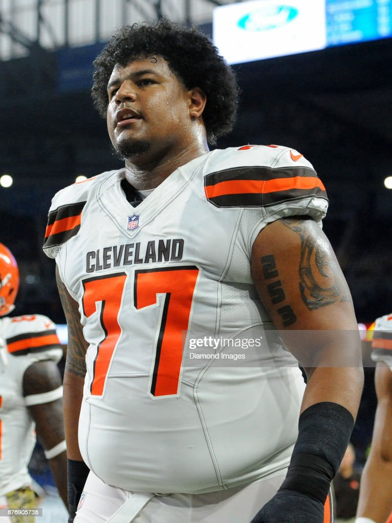 Tackle Zach Banner #77 of the Cleveland Browns walks off the field prior to a game on November 12, 2017 against the Detroit Lions at Ford Field in Detroit, Michigan. Detroit won 38-24.