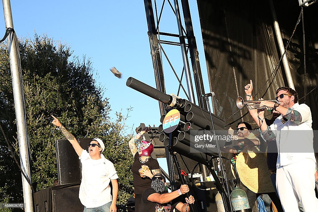 Tacos are fired into the crowd with a cannon the during Day 1 of Fun Fun Fun Fest at Auditorium Shores on November 7 2014 in Austin Texas