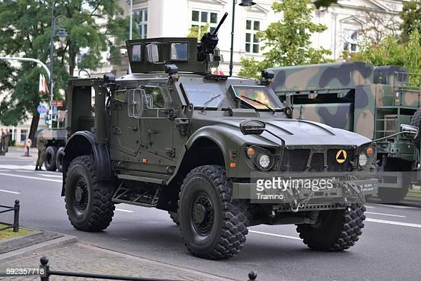Tactical vehicle Oshkosh M-ATV MRAP on the street