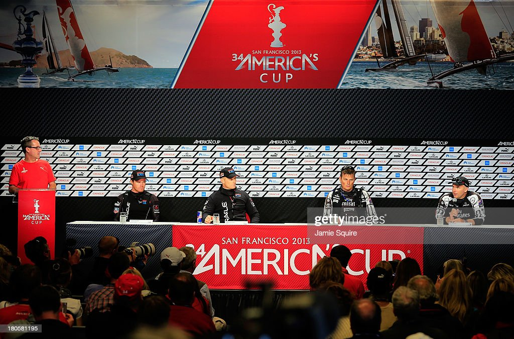 Tactician Tom Slingsby and Skipper James Spithill of Oracle Team USA address the media alongside Skipper Dean Barker and Tactician Ray Davies of Emirates Team New Zealand during a press conference following race 8 the America's Cup Finals on September 14, 2013 in San Francisco, California.