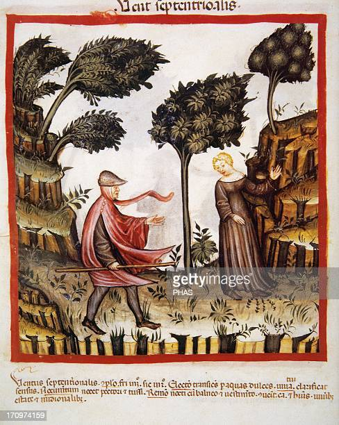 Tacuinum Sanitatis 14th century Medieval handbook of health Couple in field A day of north wind Miniature Fol 58v