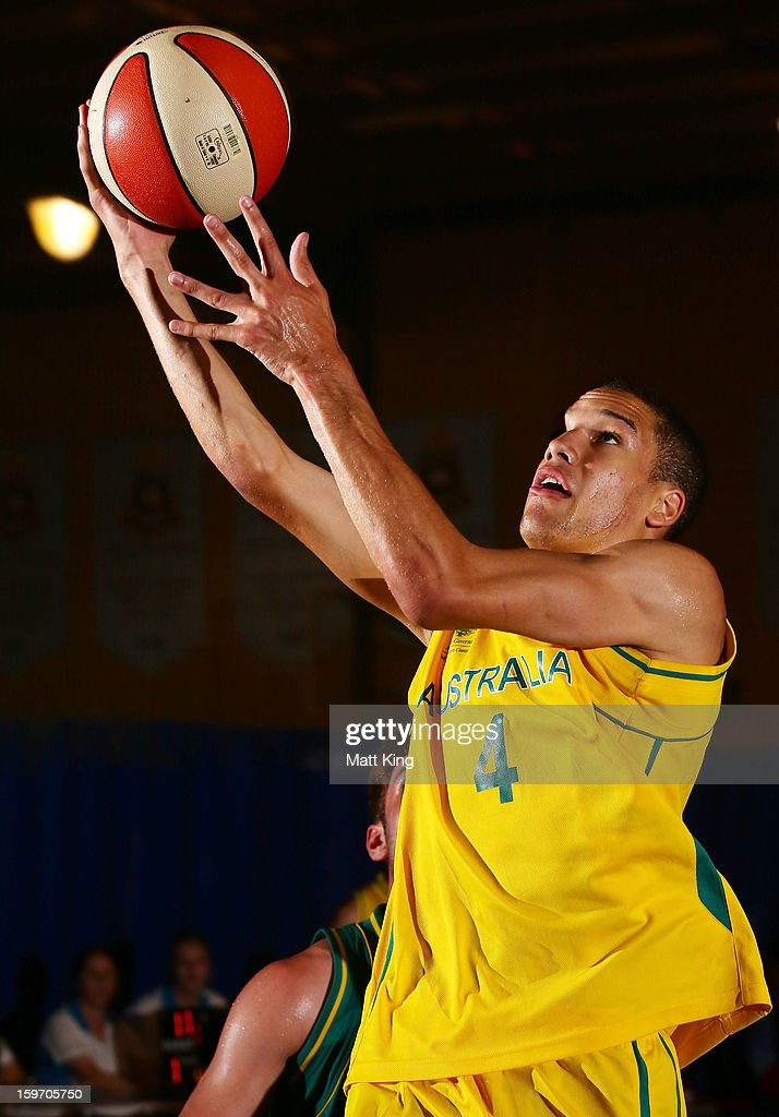 Tad Dufelmeier of Australia Gold drives to the basket in the Men's gold medal playoff against Australia Green during day four of the Australian Youth Olympic Festival at Sydney Boys High School on January 19, 2013 in Sydney, Australia.