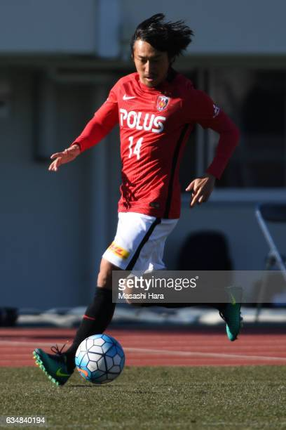 Tadaaki Hirakawa of Urawa Red Diamonds in action during the preseason friendly between Urawa Red Diamonds and FC Seoul at Urawa Komaba Stadium on...