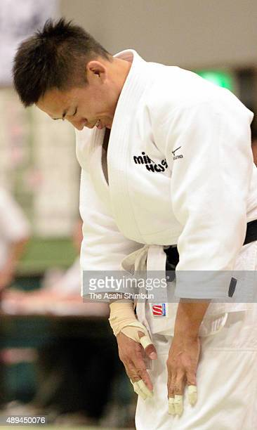 Tadahiro Nomura bows after his defeat in the Men's 60kg third round against Ryudo Tsubaki during the All Japan Businessmen Judo Championships at Bay...