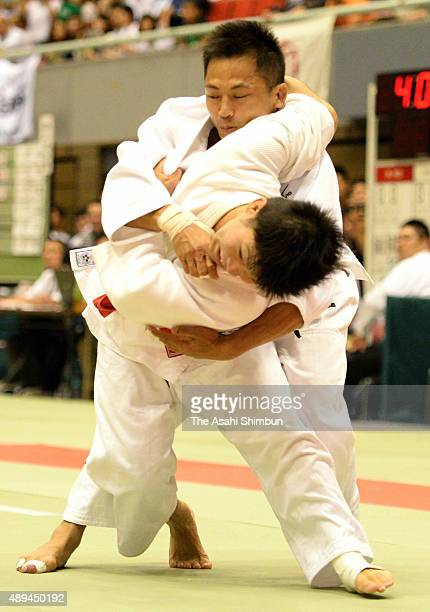 Tadahiro Nomura competes in the Men's 60kg third round against Ryudo Tsubaki during the All Japan Businessmen Judo Championships at Bay Com Gymnasium...