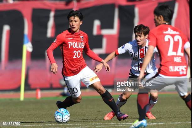 Tadanari Lee#20 of Urawa Red Diamonds in action during the preseason friendly between Urawa Red Diamonds and FC Seoul at Urawa Komaba Stadium on...