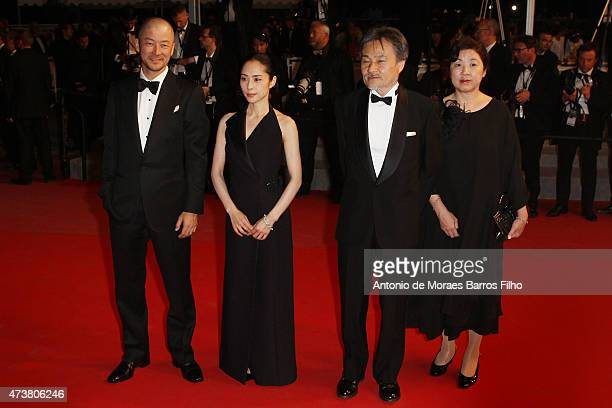 Tadanobu Asano Eri Fukatsu and Kiyoshi Kurosawa attend the 'Mon Roi' premiere during the 68th annual Cannes Film Festival on May 17 2015 in Cannes...