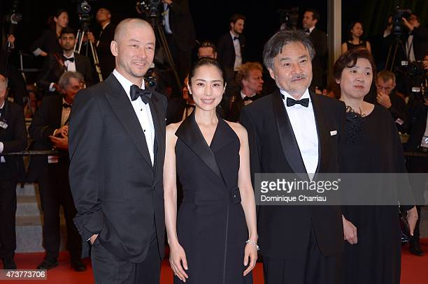 Tadanobu Asano Eri Fukatsu Kiyoshi Kurosawa and guest attend 'Kishibe No Tabi' Premiere during the 68th annual Cannes Film Festival on May 17 2015 in...