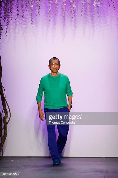 Tadashi Shoji greets the audience after presenting his Tadashi Shoji Spring 2016 Collection during New York Fashion Week The Shows at The Dock...