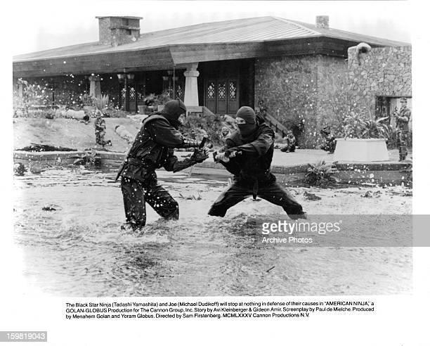 Tadashi Yamashita and Michael Dudikoff will stop at nothing in defense of their causes in a scene from the film 'American Ninja' 1985