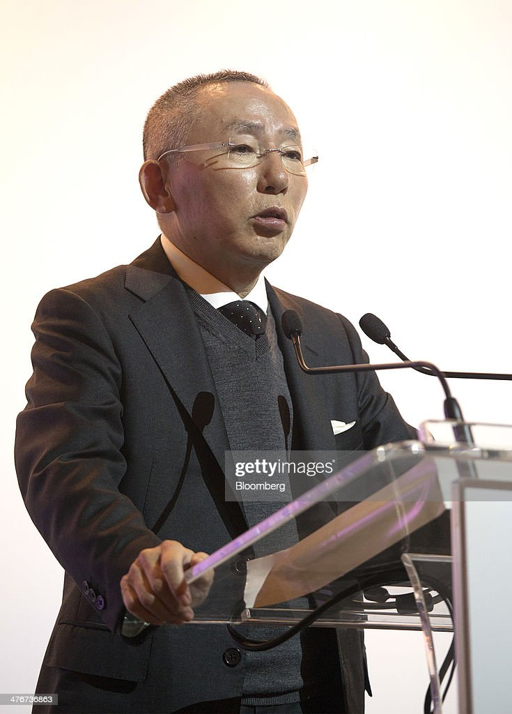 <a gi-track='captionPersonalityLinkClicked' href=/galleries/search?phrase=Tadashi+Yanai&family=editorial&specificpeople=558842 ng-click='$event.stopPropagation()'>Tadashi Yanai</a>, billionaire and chairman, president and chief executive officer of Fast Retailing Co., speaks during a news conference in Hong Kong, China, on Wednesday, March 5, 2014. Fast Retailing, Asia's largest clothing retailer, debuted Hong Kong depositary receipts (HDRs) on the Hong Kong Stock Exchange on March 5. Photographer: Jerome Favre/Bloomberg via Getty Images