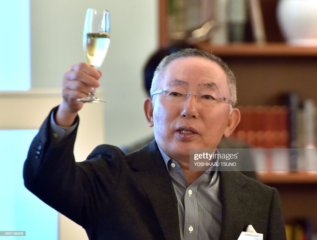 <a gi-track='captionPersonalityLinkClicked' href=/galleries/search?phrase=Tadashi+Yanai&family=editorial&specificpeople=558842 ng-click='$event.stopPropagation()'>Tadashi Yanai</a>, CEO of Fast Retailing, operator of Japan's fast fashion giant Uniqlo toasts at a media event at the company's headquarters in Tokyo on February 18, 2015. Yanai said the company would target 30,000 billion yen (250 billion USD) in revenue in the year of 2030. AFP PHOTO / Yoshikazu TSUNO