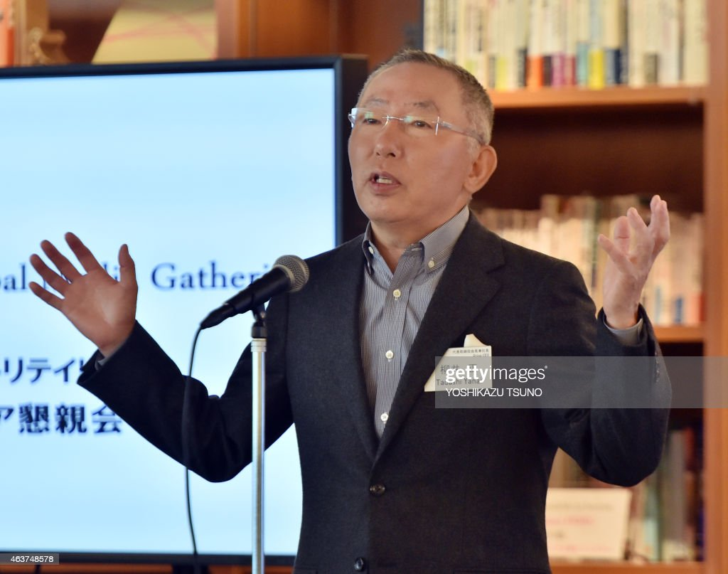 <a gi-track='captionPersonalityLinkClicked' href=/galleries/search?phrase=Tadashi+Yanai&family=editorial&specificpeople=558842 ng-click='$event.stopPropagation()'>Tadashi Yanai</a>, CEO of Fast Retailing, operator of Japan's fast fashion giant Uniqlo speaks before press at a media event at the company's headquarters in Tokyo on February 18, 2015. Yanai said the company would target 30,000 billion yen (250 billion USD) in revenue in the year of 2030. AFP PHOTO / Yoshikazu TSUNO