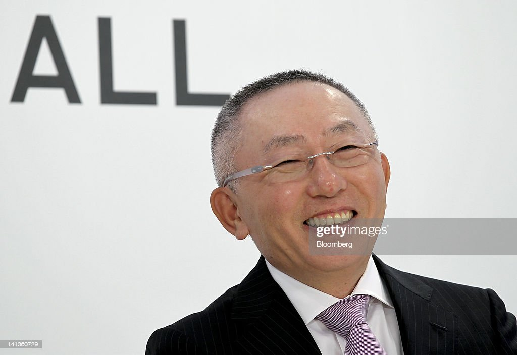 <a gi-track='captionPersonalityLinkClicked' href=/galleries/search?phrase=Tadashi+Yanai&family=editorial&specificpeople=558842 ng-click='$event.stopPropagation()'>Tadashi Yanai</a>, chairman, president and chief executive officer of Fast Retailing Co., attends a news conference at the company's Uniqlo outlet in the Ginza district of Tokyo, Japan, on Thursday, March 15, 2012. Fast Retailing expects their Ginza Uniqlo outlet to be the biggest revenue generator in their network. Photographer: Koichi Kamoshida/Bloomberg via Getty Images