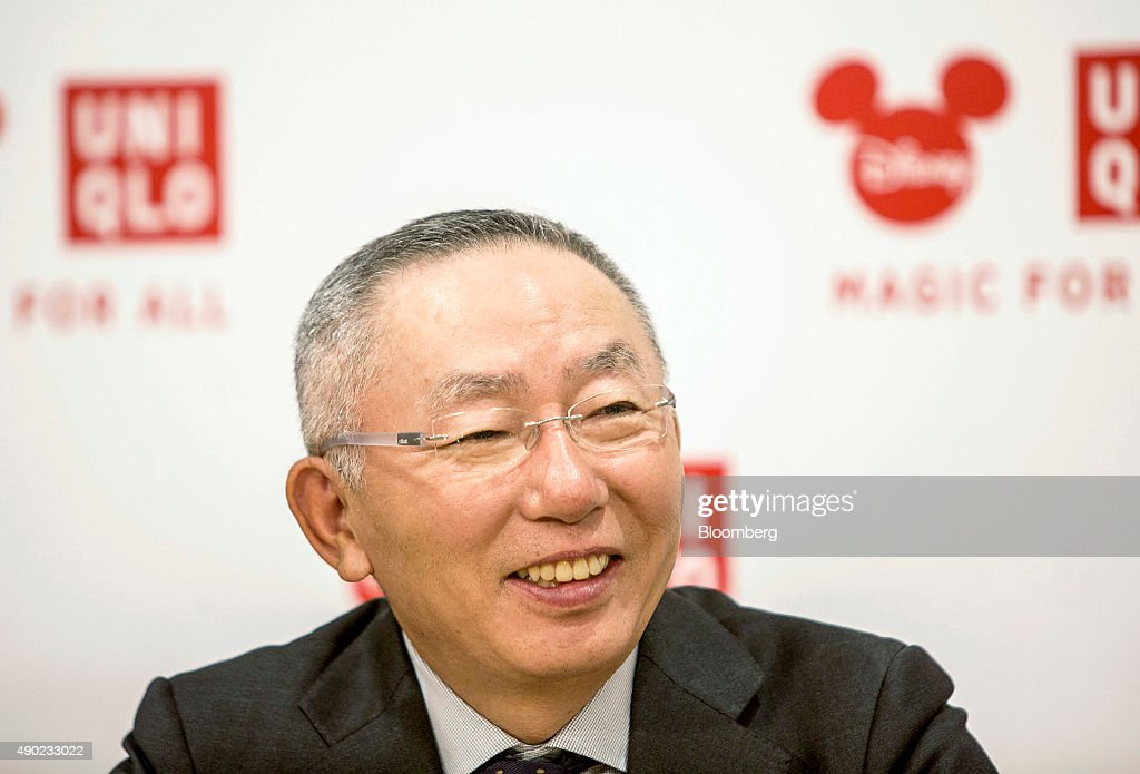 <a gi-track='captionPersonalityLinkClicked' href=/galleries/search?phrase=Tadashi+Yanai&family=editorial&specificpeople=558842 ng-click='$event.stopPropagation()'>Tadashi Yanai</a>, chairman, president and chief executive officer of Fast Retailing Co., smiles during an interview in Shanghai, China, on Saturday, Sept. 26, 2015. Yanai said Walt Disney Co.s new park in Shanghai will help his Uniqlo casual wear brand expand in China, shrugging off concerns over an economic slowdown in the Japanese retailers largest overseas market. Photographer: Qilai Shen/Bloomberg via Getty Images
