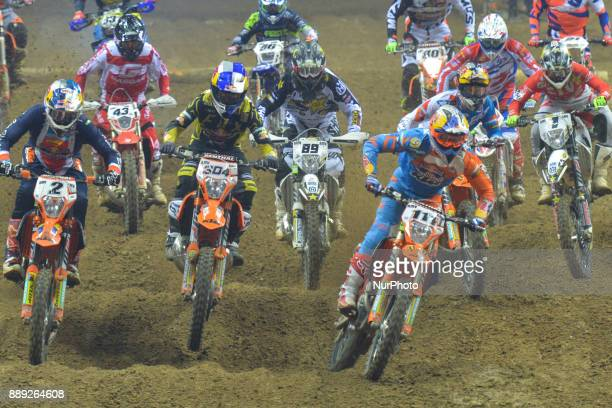 Tadeusz Blazusiak from Poland leads the pack of riders during the final in Prestige category of the FIM Super Enduro World Championship 2017/2018 in...