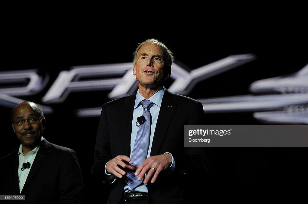 Tadge Juechter, chief engineer for the Chevrolet Corvette, speaks during the unveiling of the 2014 Chevrolet Corvette Stingray ahead of the 2013 North American International Auto Show (NAIAS) in Detroit, Michigan, U.S., on Sunday, Jan. 13, 2013. The new model, set to reach dealers in this year's third quarter, is part of the push to breathe new life into the Chevy brand, which accounted for 71 percent of GM's 2012 U.S. sales. Photographer: Daniel Acker/Bloomberg via Getty Images