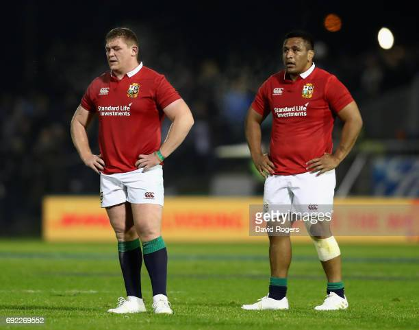 Tadhg Furlong and Mako Vunipola of the Lions looks on during the match between the New Zealand Provincial Barbarians and the British Irish Lions at...