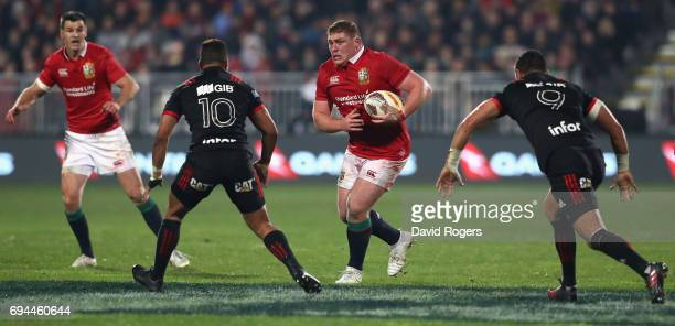 Tadhg Furlong of the Lions breaks with the ball during the match between the Crusaders and the British Irish Lions at AMI Stadium on June 10 2017 in...