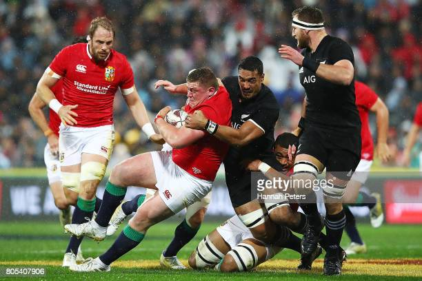 Tadhg Furlong of the Lions charges forward during the International Test match between the New Zealand All Blacks and the British Irish Lions at...