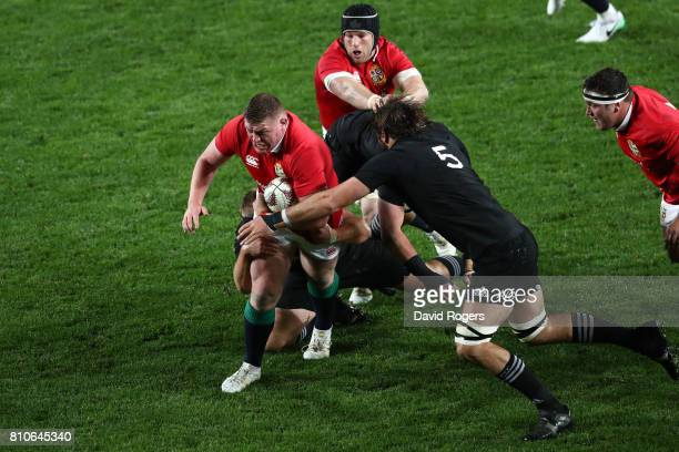 Tadhg Furlong of the Lions charges upfield during the third test match between the New Zealand All Blacks and the British Irish Lions at Eden Park on...