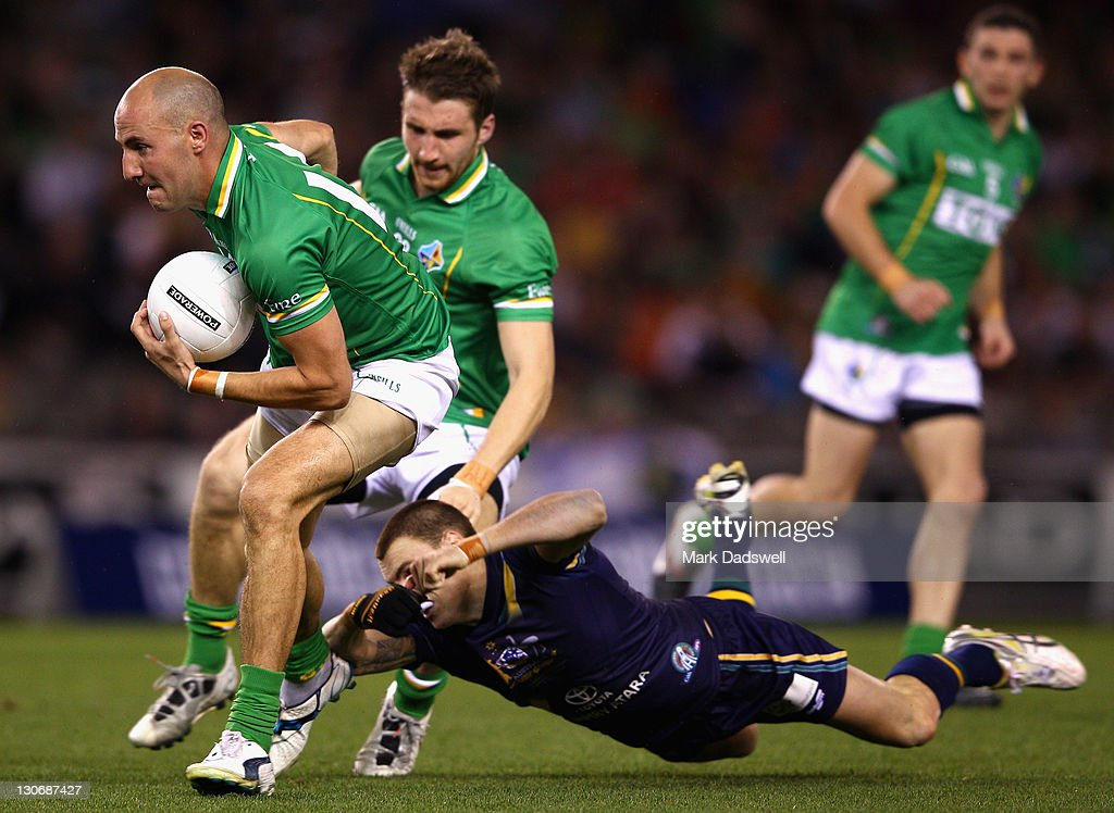 Tadhg Kennelly of Ireland gathers the ball during game one of the International Rules Series between Australia and Ireland at Etihad Stadium on October 28, 2011 in Melbourne, Australia.