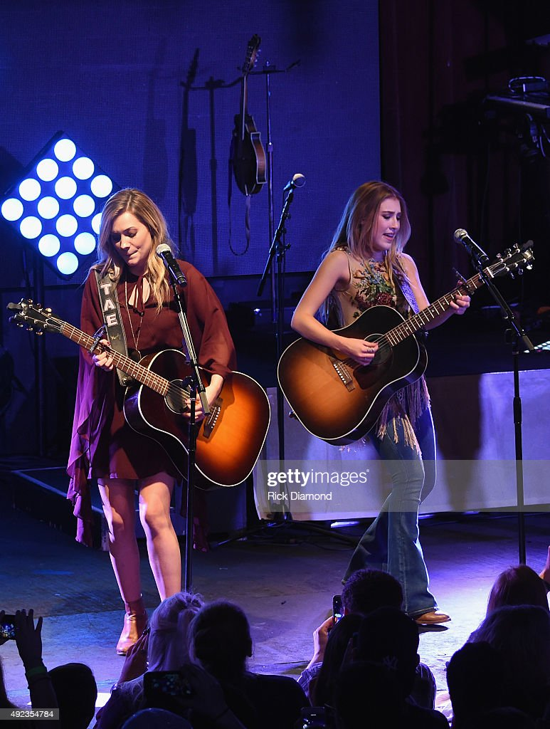 Tae Dye and Maddie Marlow of Maddie & Tae perform to a sold-out crowd on the opening night of their START HERE Tour at Highline Ballroom on October 7, 2015 in New York City.