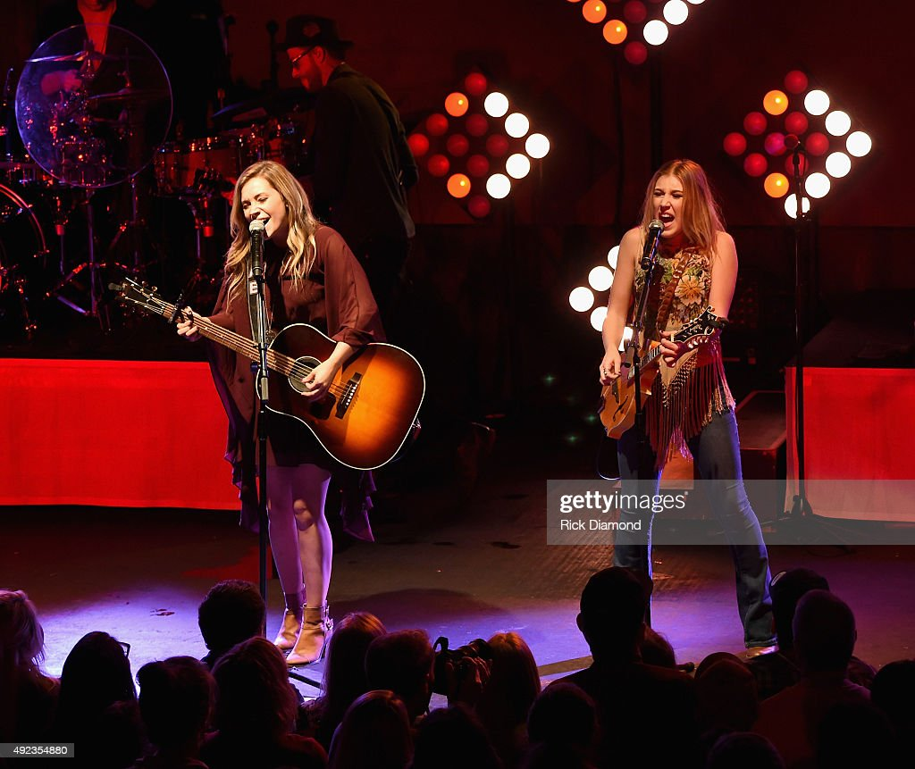 Tae Dye and Maddie Marlow or Maddie & Tae perform to a sold-out crowd on the opening night of their START HERE Tour at Highline Ballroom on October 7, 2015 in New York City.