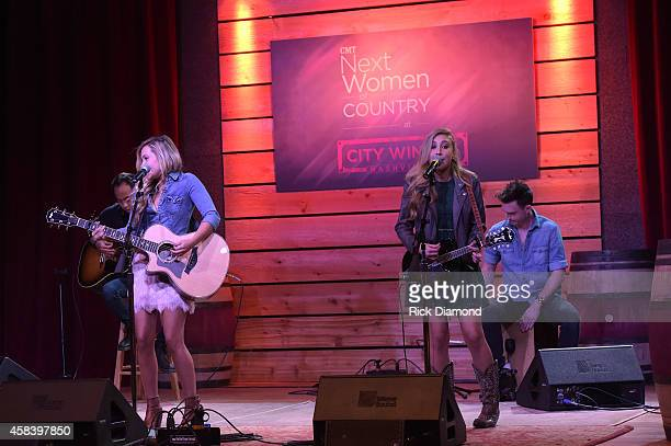 Tae Dye and Maddie Marlow perform at the CMT Next Women Of Country at City Winery Nashville on November 4 2014 in Nashville Tennessee