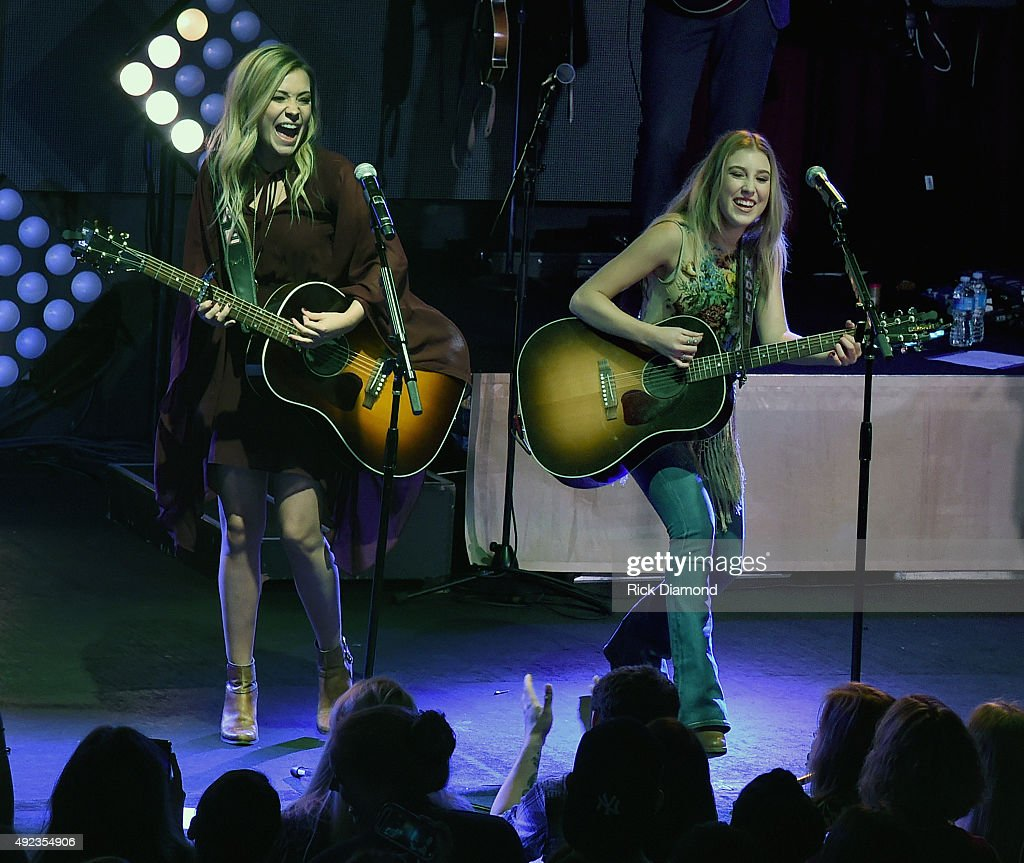 Tae Dye and Maddie of Maddie & Tae perform to a sold-out crowd on opening night of their START HERE Tour at Highline Ballroom on October 7, 2015 in New York City.