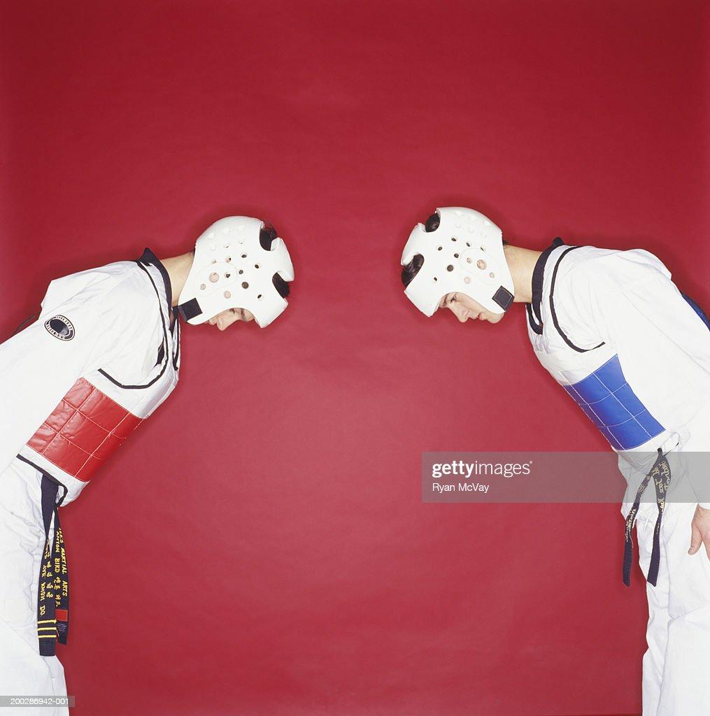 Tae kwon do-competitors, head to head : Stock Photo