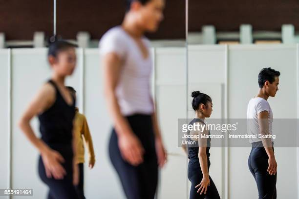 Tae Ok Ryom and Ju Sik Kim of DPR Korea warm up prior to the Pairs Free Skating during the Nebelhorn Trophy 2017 at Eissportzentrum on September 29...