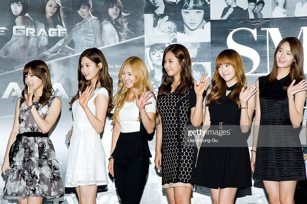 Tae Yeon, Seo Hyun, Hyo Yeon, Yu Ri, Jessica and Yoon A of South Korean girl group Girls' Generation attend during the 'S.M.ART Exhibition' opening ceremony held at Coex on August 09, 2012 in Seoul, South Korea.