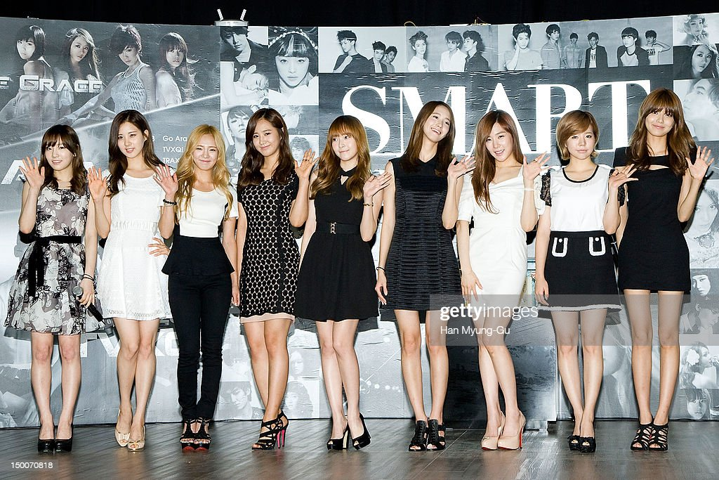 Tae Yeon, Seo Hyun, Hyo Yeon, Yu Ri, Jessica, Yoon A,Tiffany, Sunny and Soo Young of South Korean girl group Girls' Generation attend during the 'S.M.ART Exhibition' opening ceremony held at Coex on August 09, 2012 in Seoul, South Korea.