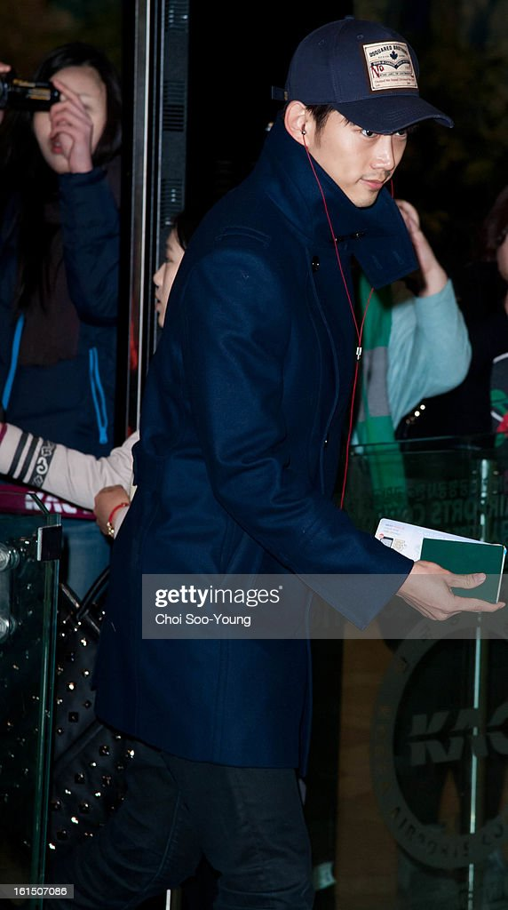 Taec-Yeon of 2pm is seen at Gimpo International Airport on February 11, 2013 in Seoul, South Korea.