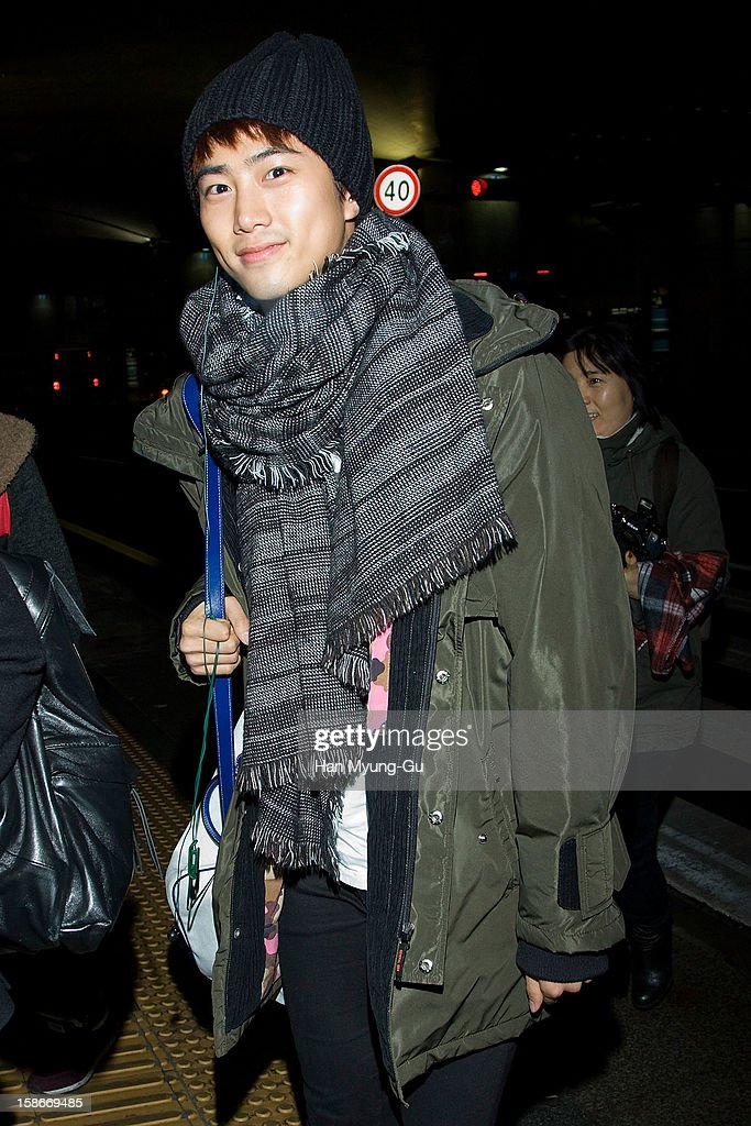 Taecyeon of boy band 2PM is seen at Incheon International Airport on December 23, 2012 in Incheon, South Korea.