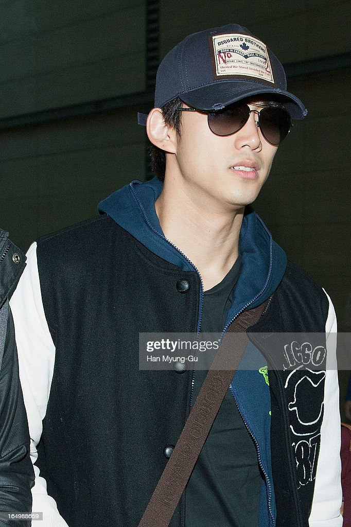 Taecyeon of South Korean boy band 2PM is seen on departure iat Incheon International Airport on March 29, 2013 in Incheon, South Korea.