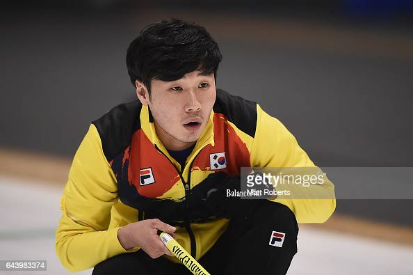 Taehwan Kim of Korea looks on after placing a stone during the men's curling bronze medal game beween Chinese Taipei and Korea on day six of the 2017...
