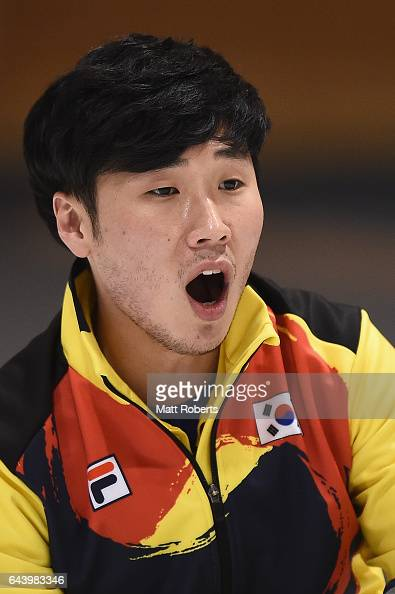 Taehwan Kim of Korea shouts instructions to the sweepers during the men's curling bronze medal game beween Chinese Taipei and Korea on day six of the...